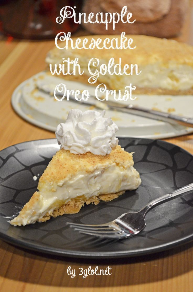 Pineapple Cheesecake with Golden Oreo Crust. Delicious no bake pineapple cheesecake with a unique Golden Oreo Cookie Crust. #cheesecake #nobake #recipe