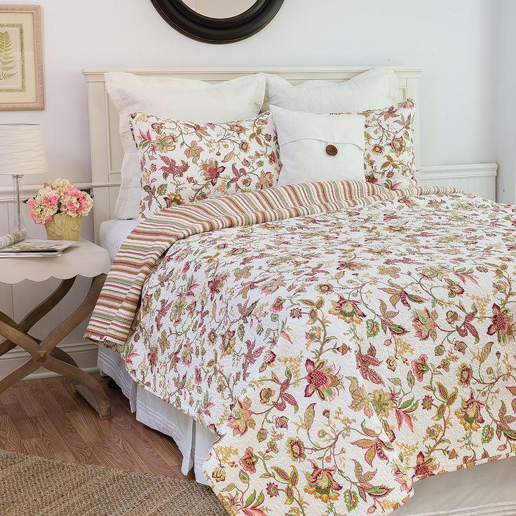 Enterprises Jacobean Reversible Floral King Size Quilt Set