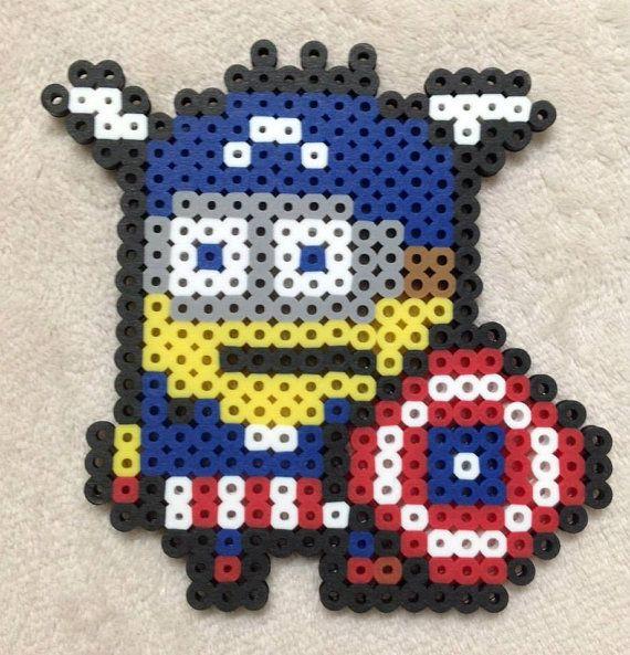 Minion Super Hero Captain America Perler Bead Art by EightBitEvolution