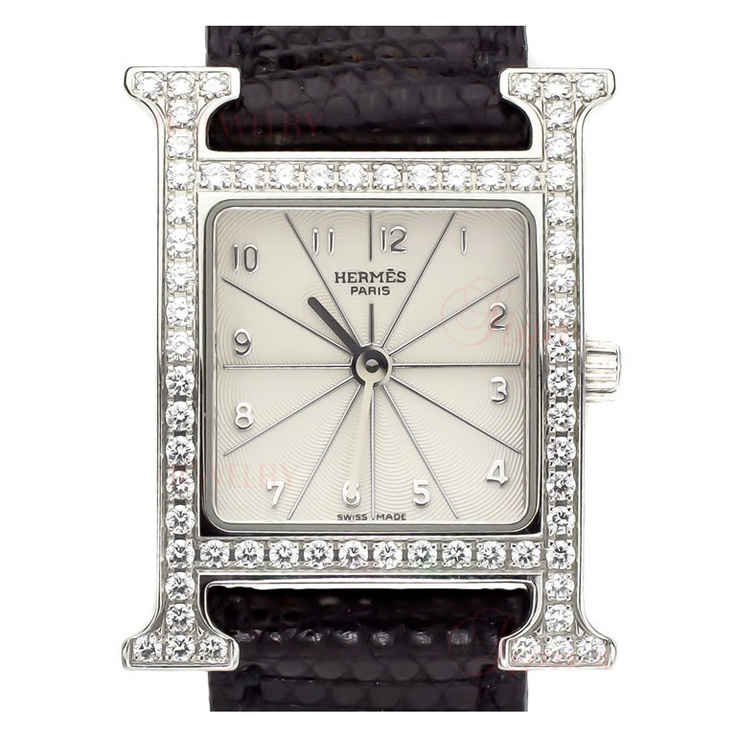 HERMES Stainless Steel and Diamond H Hour Wristwatch