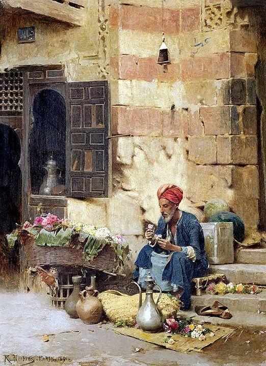 The flower seller . 1891 By Raphael von Ambros (Austrian, 1855 -1895)