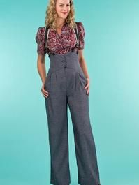 the miss fancy pants slacks. navy salt & pepper