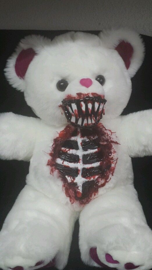 this is a scary bear because it's scary teeth and chest with blood maybe this could be in the titleAS