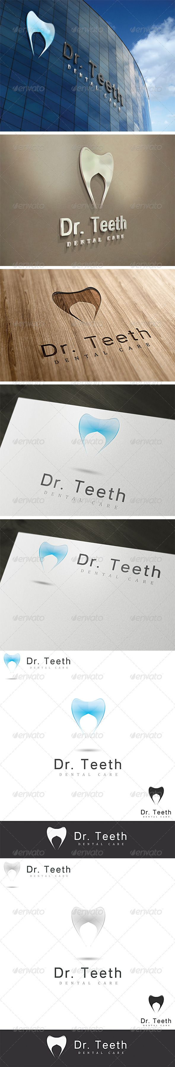Dr. Teeth Dental Logo Template #GraphicRiver A modern fresh design, perfect for any dental business or company • Fully vector • Easy to edit text (link to fonts included in help file) • CMYK at 300DPI • AI and EPS files Note: The top 3D wall signs are for preview only should you need any further assistance, don't hesitate to contact me.