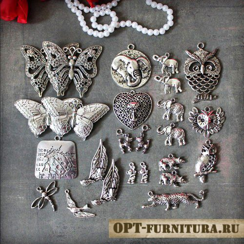 подвески для бижутерии цвет серебро