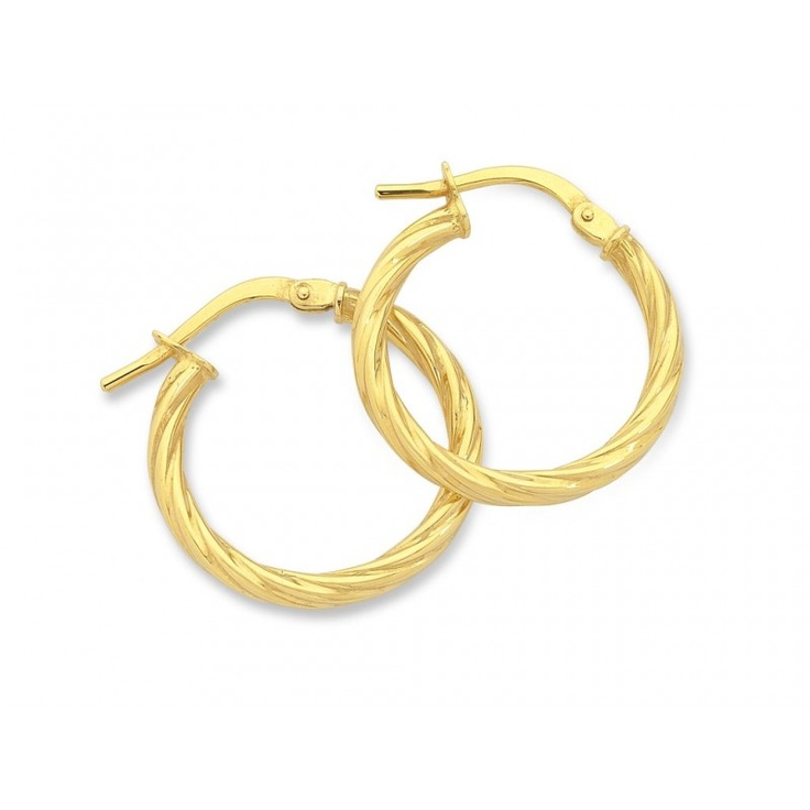 9ct Yellow Gold Silver Filled Hoop Earrings
