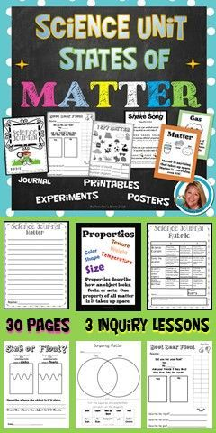 Science Unit Properties of Matter - States of Matter - 3 Inquiry lessons�