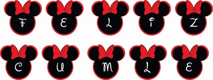 #CartelCumpleaños #Banderin #Minnie #Roja #Birthday #Cumple #Cumpleaños