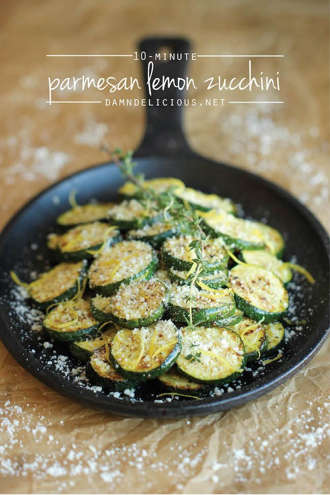 Parmesan Lemon Zucchini - The most amazing zucchini dish made in just 10 min. It's so easy, you'll want to make this every single night!: Lemon Zucchini, Food Recipes, Zucchini Recipe, Lemon Courgette, Zucchini Dish, Parmesan Lemon, 10 Minute, Amazing Zucchini