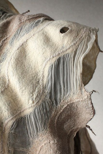 Felted Fashion - nuno felted scarf with fused fiber textures; textiles surface design // Marina Shkolnik