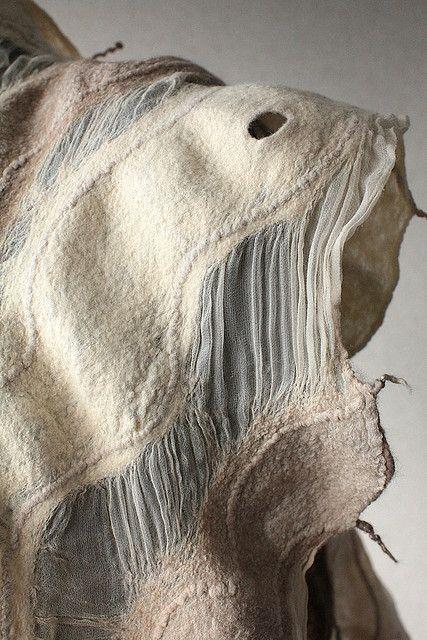 Felted Fashion - nuno felted scarf with fused fiber textures; textiles surface design // Marina Shkolnik