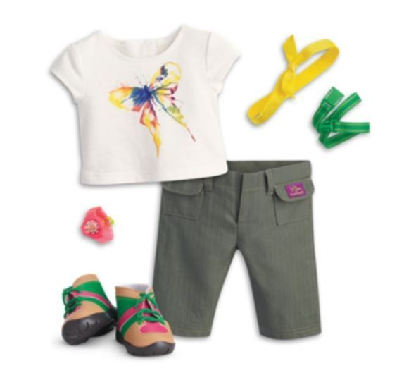 American Girl Doll Hiking Boots and Outfit for Lea Clark and other 18 inch dolls.