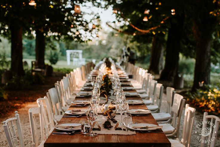 Rustic style wedding table in the garden