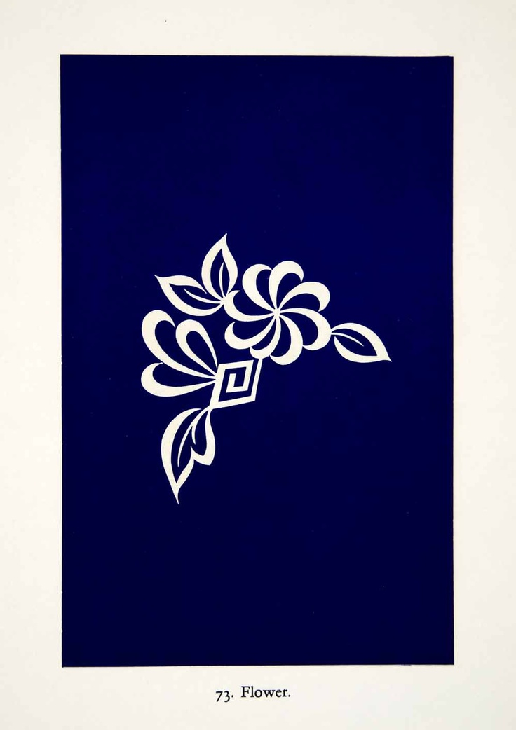 1949 Japanese Lithograph of a white flower on a blue background.