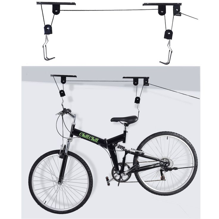 2 Sets Bike Bicycle Lift Ceiling Mounted Hoist Storage Garage Hanger Pulley Rack | When the bike is not used, the Garage Organization Bicycle Hoist can help u lift your bike to make more floor room.