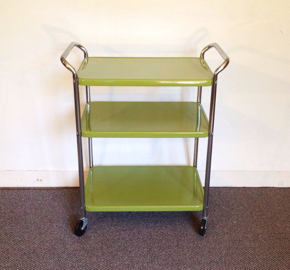 Apple Green Metal Kitchen Cart Vintage Rolling By