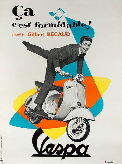 1950s Vespa vintage advert poster