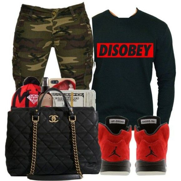 Repin pants jeans shoes black clothes red shirt chanel bag clothing outfits camo chanel ...