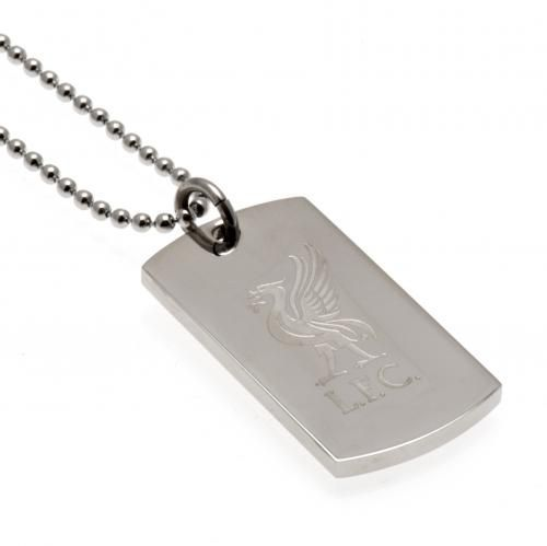 Stainless steel Liverpool FC dog tag and chain featuring an engraved club crest. A stunning bit of Liverpool jewellery. FREE DELIVERY
