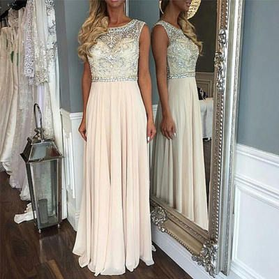 Prom Dresses,A-line round neck beaded chiffon long prom dress, white evening dress by DestinyDress, $218.39 USD