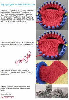 J'ai traduit le patron dont l'original ce trouve ici http://yarngear.com/looms/socks.htm Bon tricotinage !