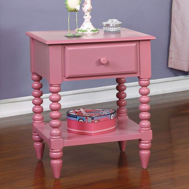 Lindsey Pink Night Stand - CM-AC323 $88  Description :  Add a fresh breath of color to any kid's bedroom with this modern single drawer nightstand. This structure is supported upon unique beaded legs, with a lower storage shelf perfect for tucking away toys or proudly displaying trophies.  Features :  Transitional Style Single Drawer Night Stand Unique Carved Leg Detail Open Shelf Display Space Solid Wood, Wood Veneer, Others Available in 6 Finishes Dimensions :  Nigh Stand : 19""