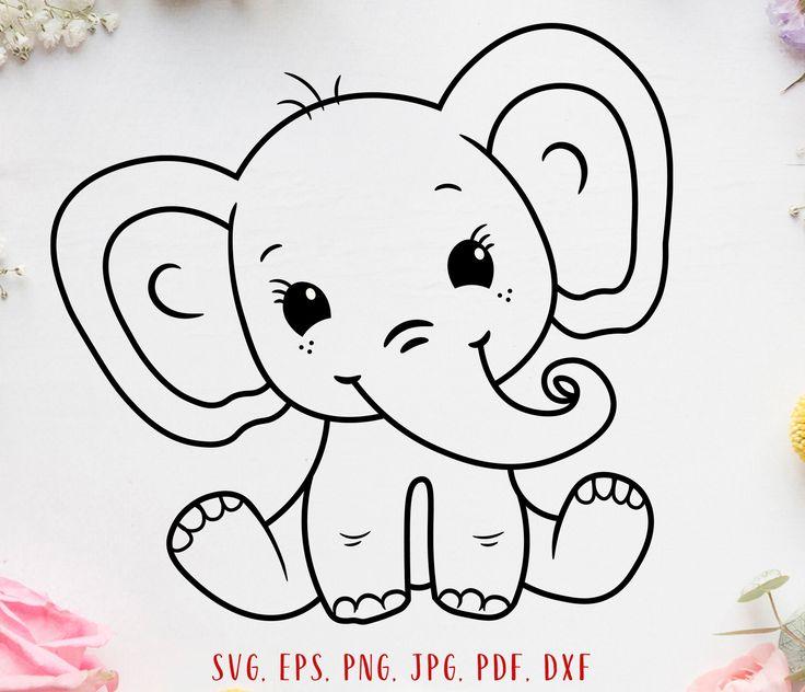 Download Baby elephant svg Cute elephant svg Elephant clipart ...