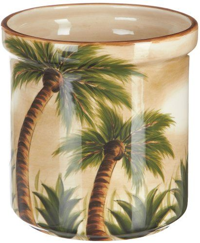 This 7 Inch Utensil Crock Features Durable Ceramic Construction, Palm Tree  Design, And Is Dishwasher Safe. Serving Accessories Bring A Coordinated  Look To ...