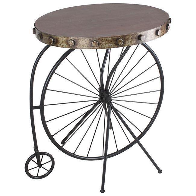Masă cu blat rotund, având piciorul în forma de velociped. O piesă de mobilă retro cu aspect inedit, foarte potrivită într-o amenajare în stil loft. Recomandă-o prin Happy Share și primești 4% din vânzările rezultate.