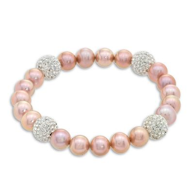 """8.0 - 9.0mm Pink Cultured Freshwater Pearl and Crystal Bead Stretch Bracelet - 7.25"""" - Peoples Jewellers 8.0 - 9.0mm Pink Cultured Freshwater Pearl and Crystal Bead Stretch Bracelet - 7.25"""" - - View All Jewellery - Peoples Jewellers"""