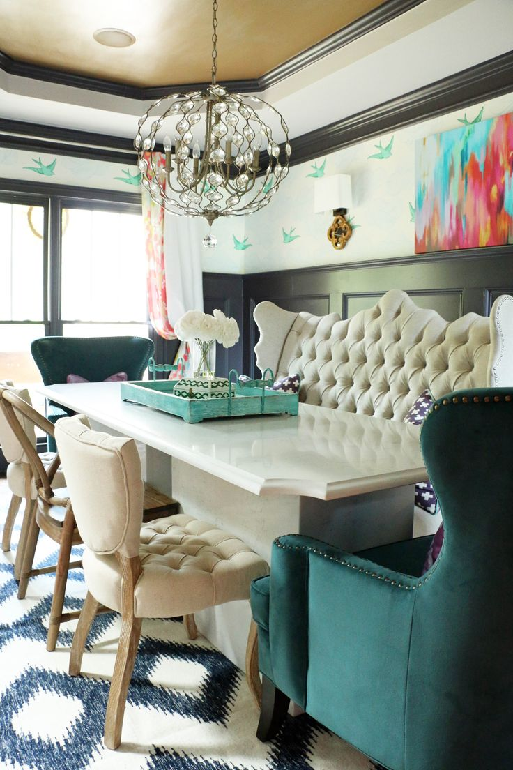 Our Home Tour... Dining Room.  Tufted bench, teal wingback chairs, wishbone chairs, daydream Hygge & West wallpaper, Surya Frontier rug, Feiss Chandelier