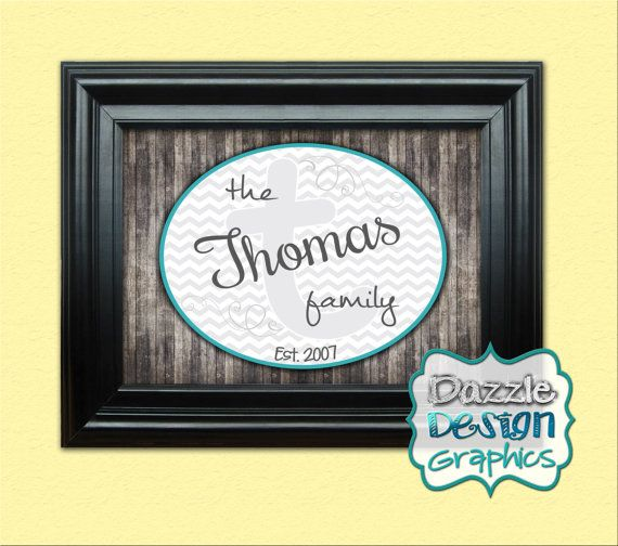 """Family Monogram wall hanging chevron print, available as a digital file or professionally printed with mounting and framing options. Customize with your family name, last initial monogram as a watermark, and """"Established"""" in the year you were married/engaged, etc.   This print makes a great wedding gift for the new couple, or birthday or holiday gift for any family. Designed by DazzleDesignGraphics"""