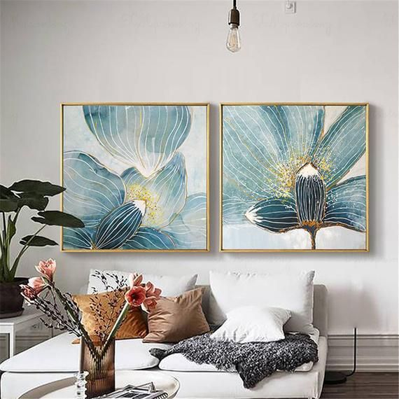 2 Pieces Gold Acrylic Flower Abstract Painting Canvas Wall Art Etsy Abstract Canvas Painting Wall Canvas Cheap Abstract Wall Art Bedroom decor canvas abstract painting