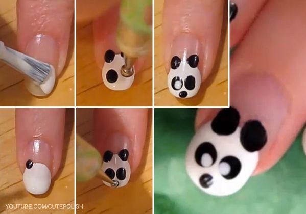Nail art de adorable panda - http://xn--decorandouas-jhb.com/nail-art-de-adorable-panda/