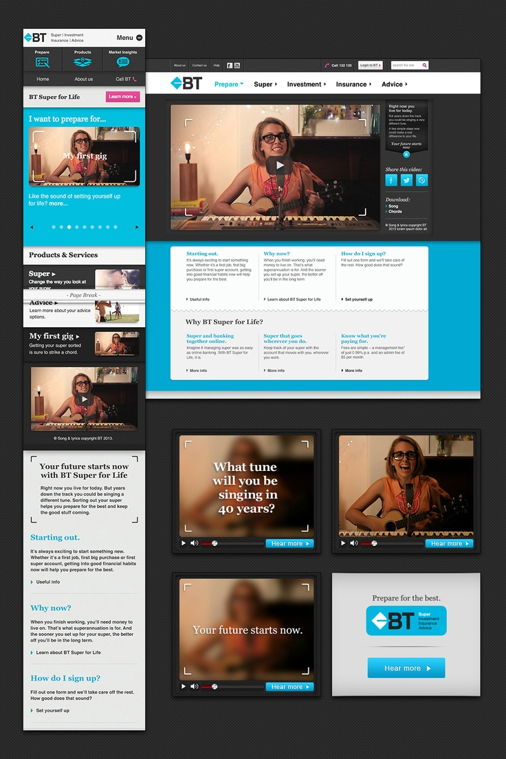 #mercerbell  #BRIEF: BT Superannuation required a campaign targeted at 18-24 year olds to fit in with their already existing site, and mobile site. #IDEA: Incorporate Gen-Y's high-level interests in comedy and music into a song about superannuation, including short excerpts in a banner campaign. #AGENCY: MercerBell. #ROLE: Digital design lead.