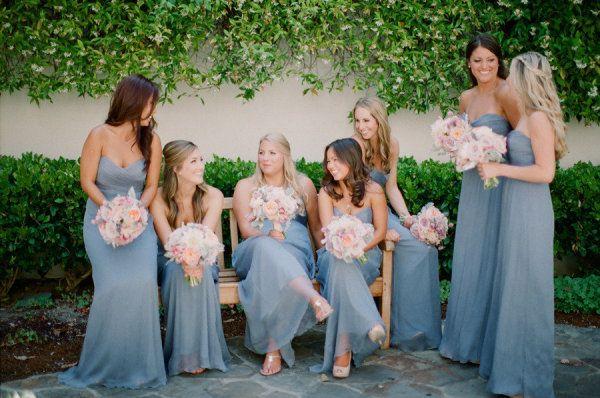 dusky blue bridesmaids dresses