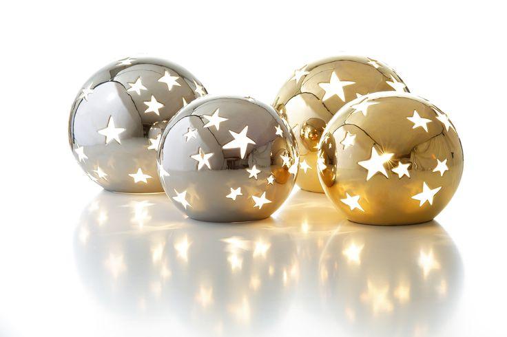 Sfeervolle handgemaakte lampen, met platinum en gouden kleur.