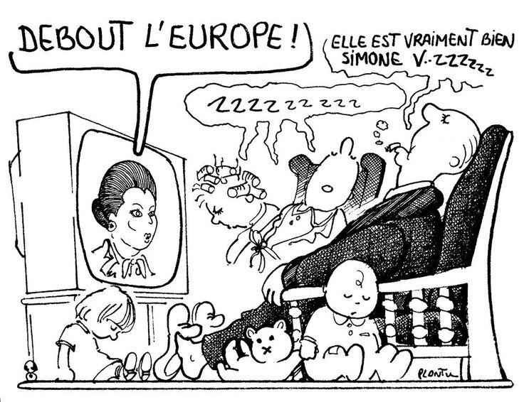 Caricature de Plantu sur l'élection de Simone Veil à la présidence du Parlement européen (Juillet 1979)