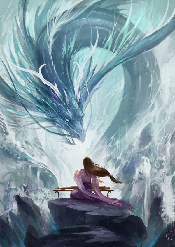 Gu Zheng - Magnificent water dragon digital paint with a woman playing the samisen. A peaceful yet powerful art that shows the serenity of playing within the waters and the power of the waves crashing down the rocks.