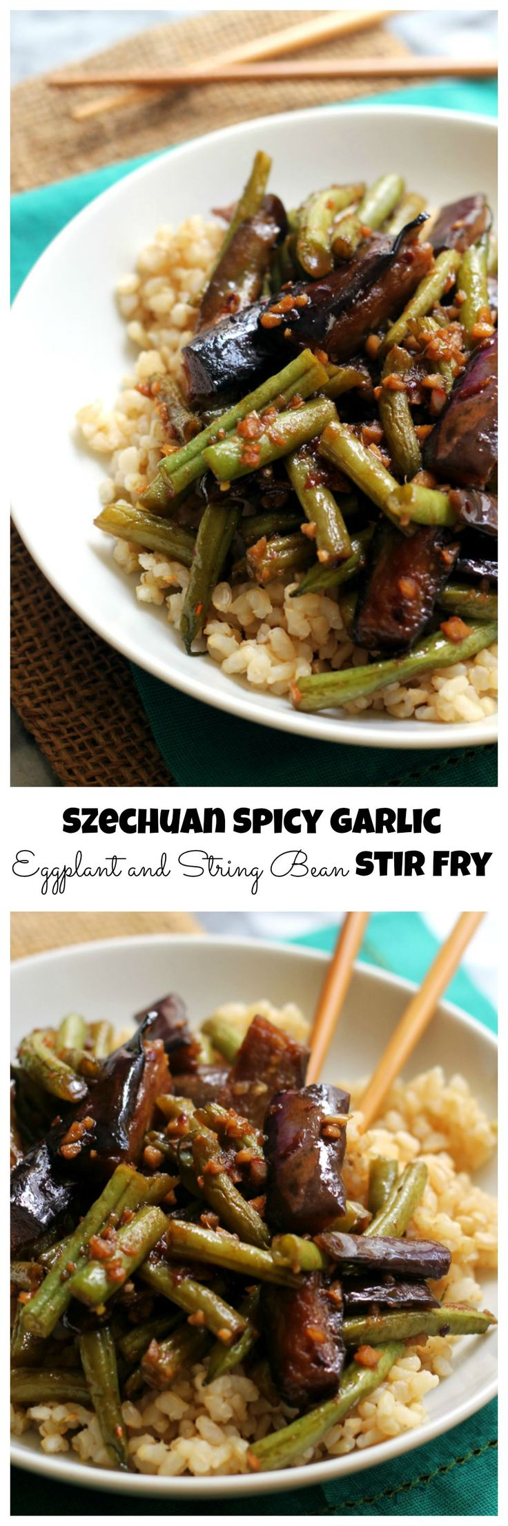 Take-out at home takes less than 30 minutes when you're making this Szechuan spicy garlic eggplant and string bean stir fry!
