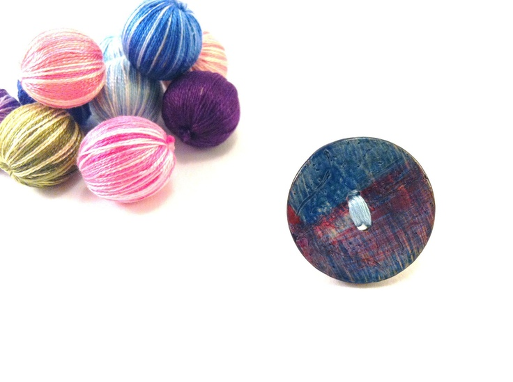 Turqoise wooden button ringFREE 1 if you get 2 by Mariabuttons
