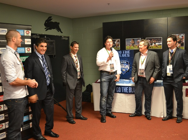 State or Origin legends Brad Clyde, Mark Carroll, Mark Coyne and Matt King with Rabbitohs Football manager Mark Ellison and club Ambassador Mario Fenech at the Rabbitohs inner sanctum experience.