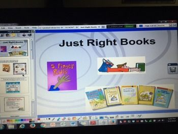 """Just Right Books 5 Finger Rule Daily 5 ActivInspire Flipchart for Promethean Boards-  Great for the beginning of the year to teach students how to use your class library for Read to Self or Partner Reading time during Daily 5 or Daily Cafe or just for silent reading-  Read Aloud """"Goldisocks and the 3 Libeareans""""-  5 Finger Rule - too easy, too hard, just right-  explain good reading strategies and what to do if you get stuck on a word-  brainpopjr video and quiz embedded in flipchart (user…"""