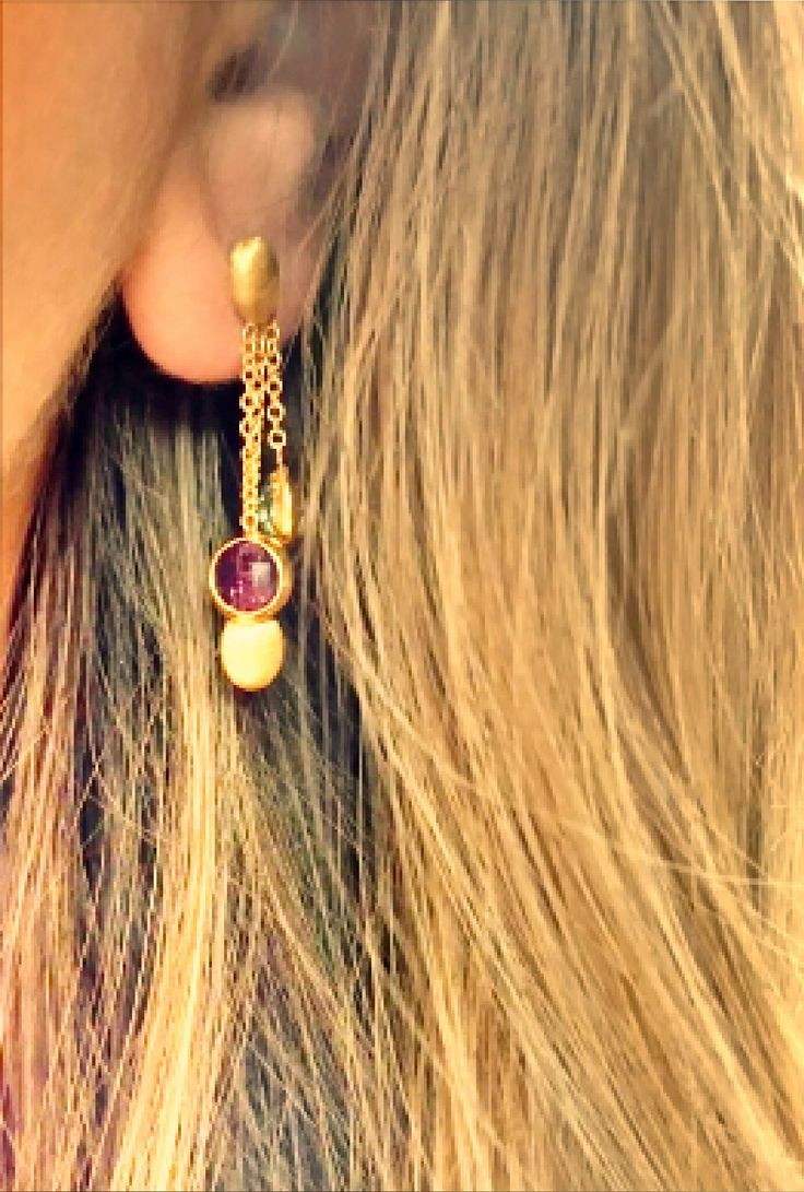 amazing gold earrings with stones 14k
