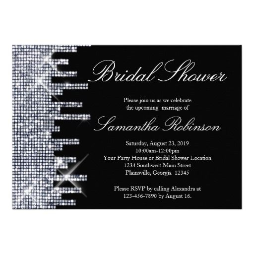Glittery Black/Silver Glamour Bridal Shower Personalized Invitations with Rhinestone Bling Glitter effect, great for a night, city or New York Shower