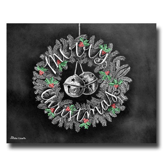 ♥ Merry Christmas krans ♥  ♥ L I S T I N G ♥ elke afbeelding is oorspronkelijk hand getekend met krijt en digitaal geconverteerd. Schoolbord prenten handhaven de authenticiteit en de stof van de oorspronkelijke tekening natte gratis. Alle prints zijn gedrukt op diep Matte Fujicolor Crystal Archive Professional papier.  ♥ F R A M I N G ♥ Frame voor het glas van uw frame voor een meer realistische weergave van het schoolbord of frame achter het glas in gebieden waar vocht mogelijk is…