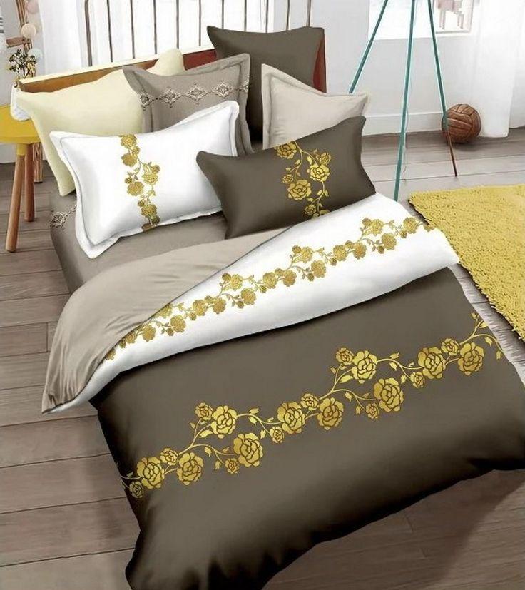 Luxusné posteľné obliečky tmavobéžové so vzorom kvetov 200x220cm