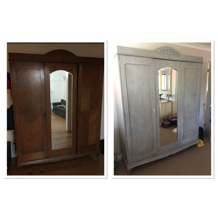 Old wardrobe made new again. Added moulding and painted with ASCP French Linen with old white wash.