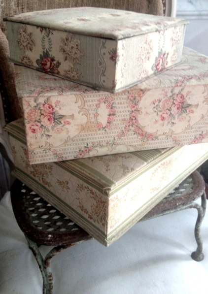 Beautiful fabric covered boxes FleaingFrance Brocante Society