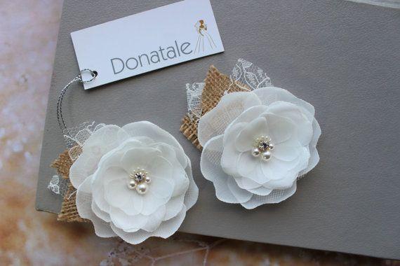 Wedding hair flower Ivory Blush Peach Mint Bridal flower Wedding hair piece Bridal hair flower Bridal headpiece Rustic Burlap Headpiece